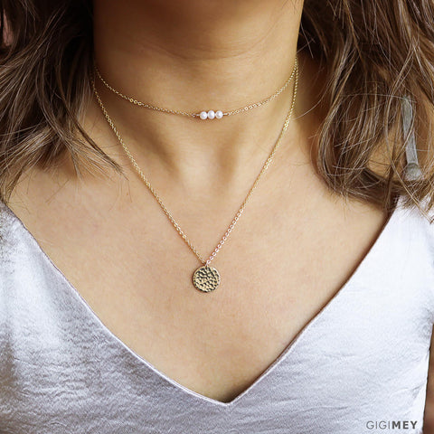 Hammered Disc and Gemstone Necklace • LNS080