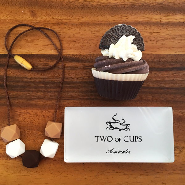TWO of CUPs Cookies - Necklace / Necklace & Cupcake giftset