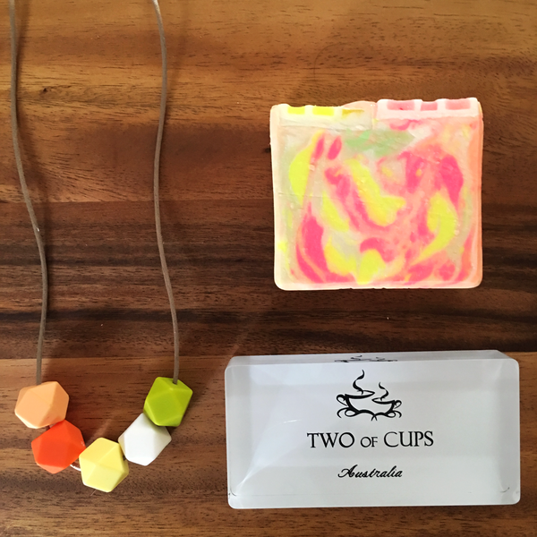 TWO of CUPs Fruits -  Necklace / Necklace & Artisan Soap giftset