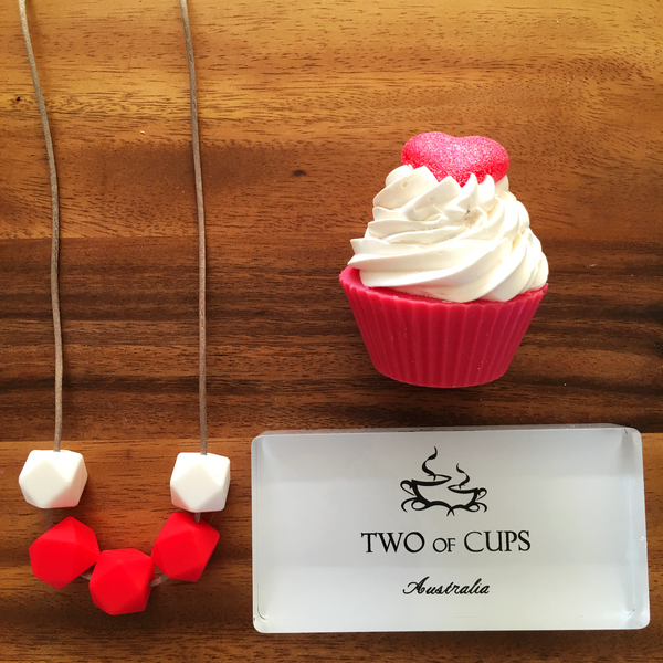 TWO of CUPs Love -  Necklace / Necklace & Cupcake giftset