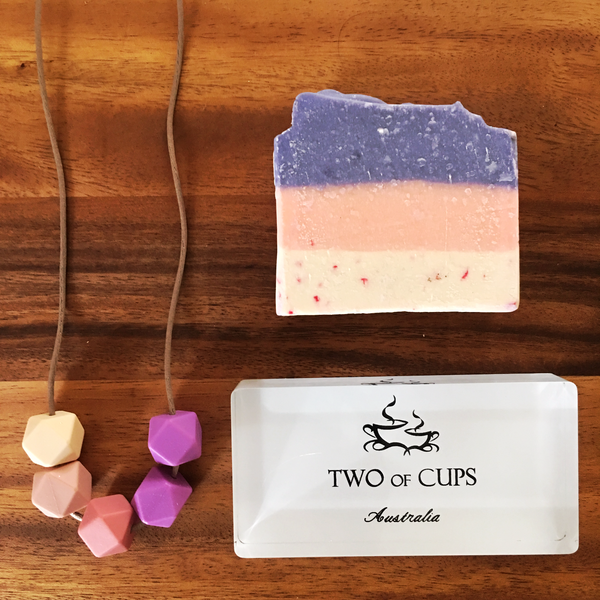 TWO of CUPs Orchids -  Necklace / Necklace & Artsian Soap giftset
