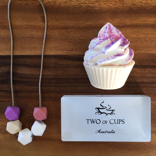 TWO of CUPs Pixie -  Necklace / Necklace & Cupcake giftset