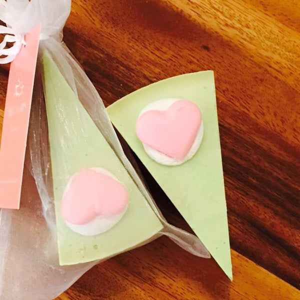 TWO of CUPs Cake Slice GOAT MILK SOAP ~ Puppy Love