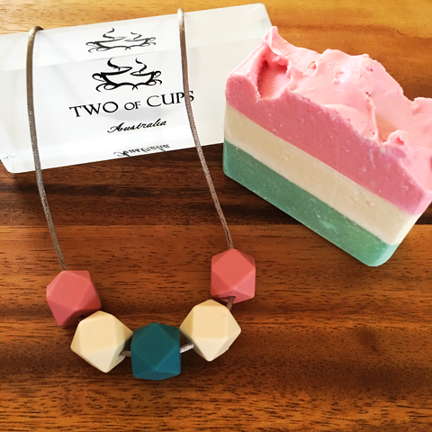 TWO of CUPs Watermelon -  Necklace / Necklace & Artsian Soap giftset