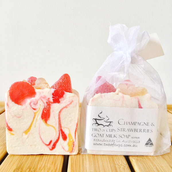 TWO of CUPs GOAT MILK SOAP ~ Champagne & Strawberry