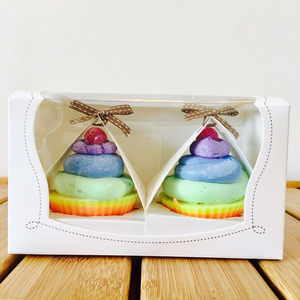 TWO of CUPs Handmade Cupcake Goat Milk Soap Twin Double Rainbow