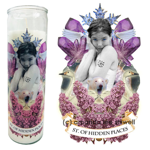 "Pop Culture Altar Candle:  ""St. Of Hidden Places"""