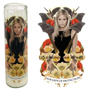 "Pop Culture Altar Candle:  ""Our Lady of Protection"""
