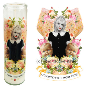 "Pop Culture Altar Candle: ""Girl With The Most Cake"""