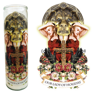 "Pop Culture Altar Candle:  ""Our Lady of Holiday"""