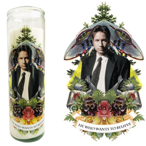 "Pop Culture Altar Candle:  ""He Who Wants To Believe"""