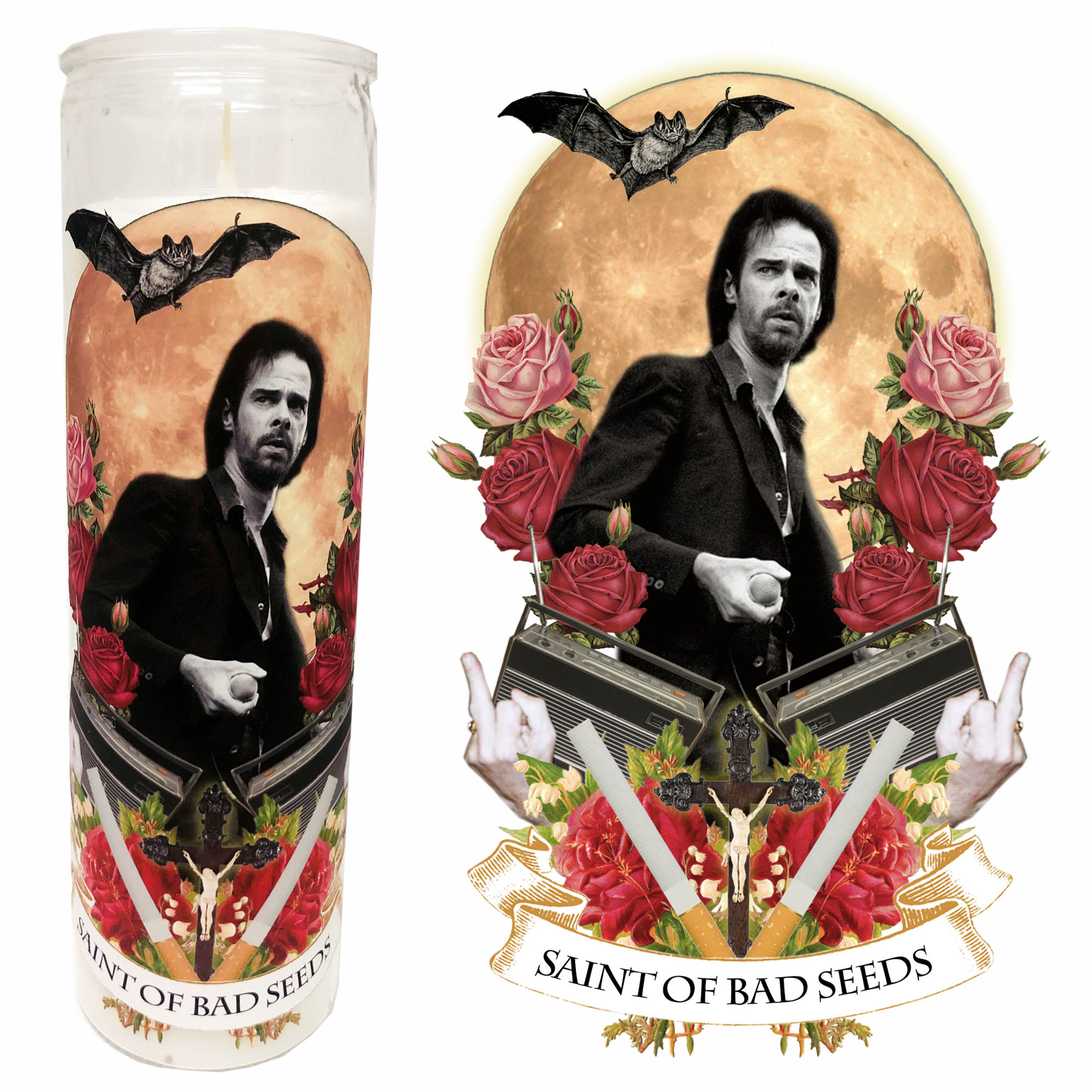 "Pop Culture Altar Candle:  ""Saint of Bad Seeds"""