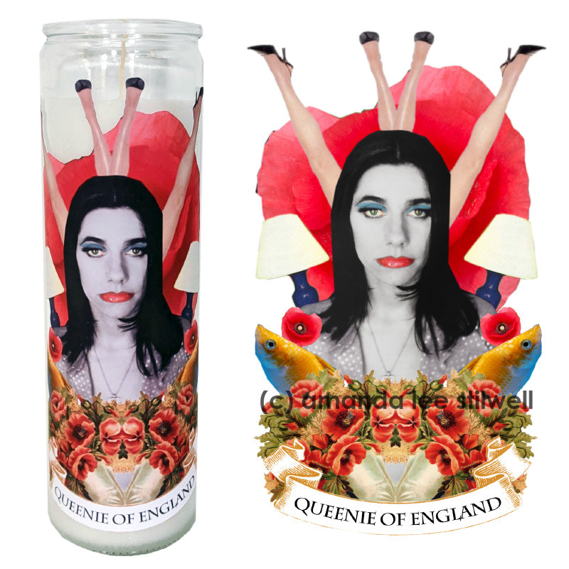 "Pop Culture Altar Candle:  ""Queenie of England"""
