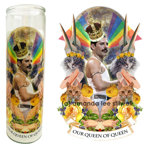 "Pop Culture Altar Candle:  ""Our Queen of Queen"""