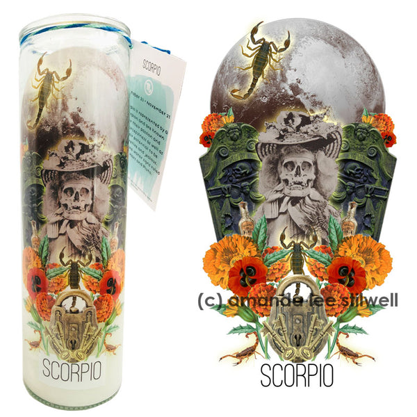 "Astrology Candle:  ""Scorpio"" BLACK CANDLE"