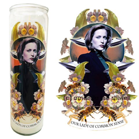 "Pop Culture Altar Candle:  ""Our Lady of Common Sense"""