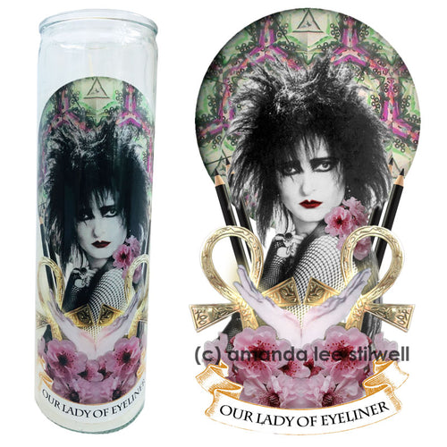 "Pop Culture Altar Candle:  ""Our Lady of Eyeliner"""