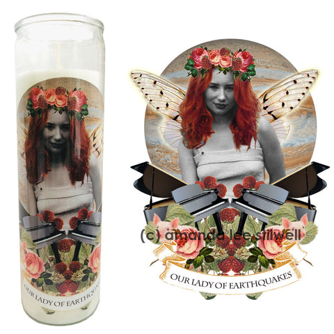 "Pop Culture Altar Candle:  ""Our Lady of Earthquakes"""
