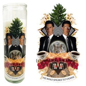 "Pop Culture Altar Candle:  ""He Who Speaks to Diane"""