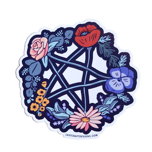 Floral Pentagram Sticker