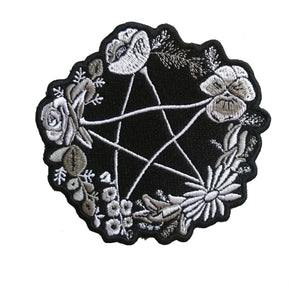 Patch - Floral Pentagram Pentacle in Grayscale *ORIGINAL DESIGN*