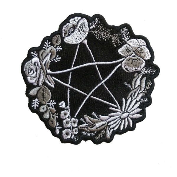 Patch - Floral Pentagram in Grayscale *ORIGINAL DESIGN*