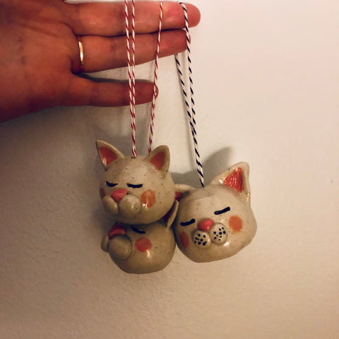 Ceramic Cat Ornaments / Air Plant Holders