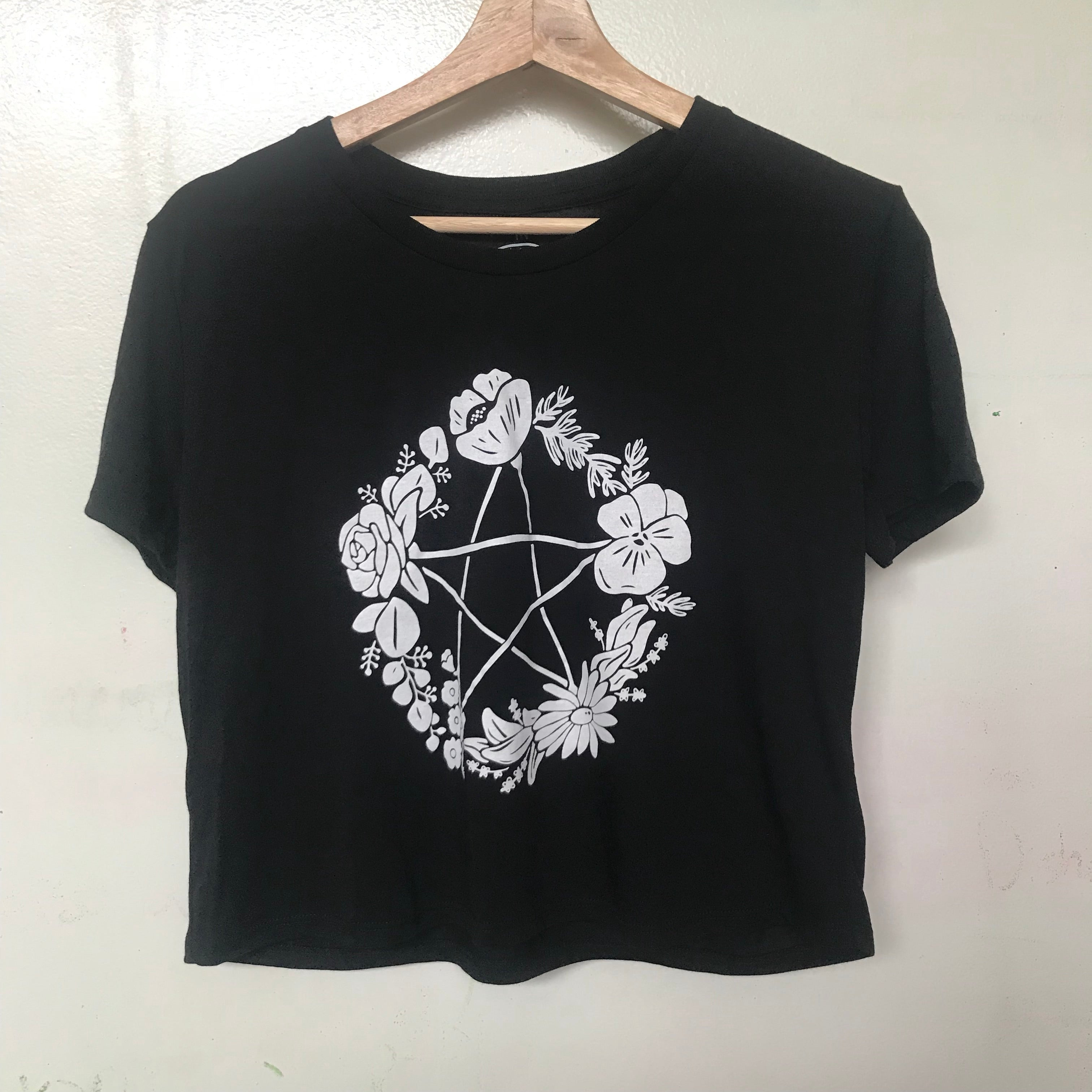 Floral Pentagram Flowy Cropped T-Shirt - Small/ Medium/ Large only