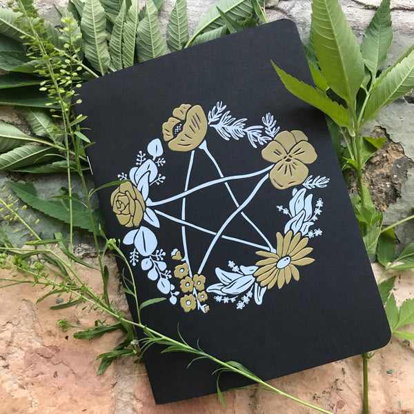 Floral Pentagram Grid Journals with Lunar Calendar