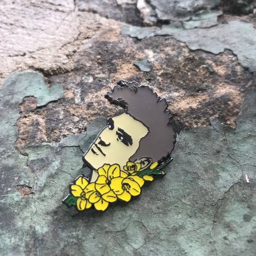 Morrissey Head with gladiolus flowers Enamel Pin