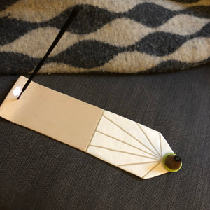 Ceramic Modern Incense Holder - Peach/ Neon Green - V2