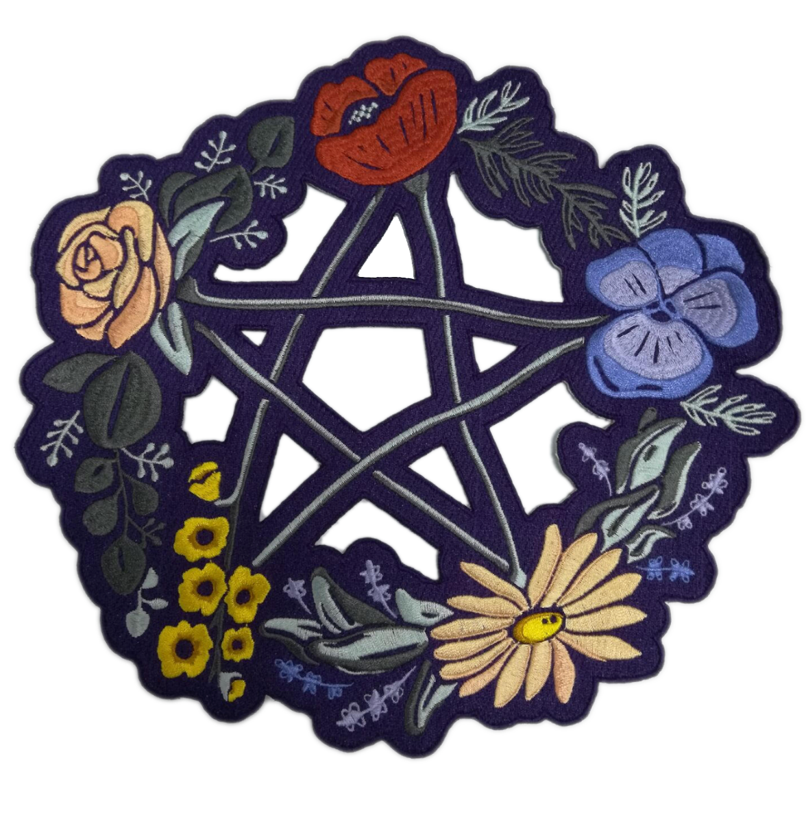 Floral Pentagram Back Patch *ORIGINAL DESIGN*