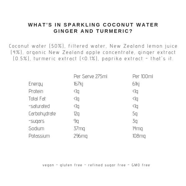 Sparkling Coconut Water Ginger + Turmeric, 275ml