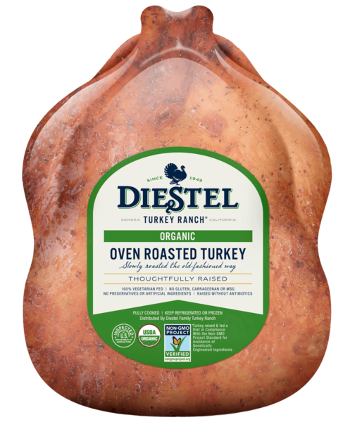 Diestel Organic Frozen Pre-Cooked Whole Turkey, 2.7-4.5kg (6-10lb) - serves 7-9