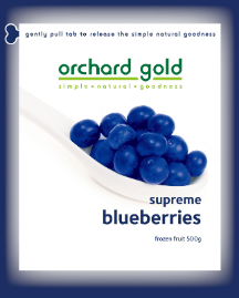 Orchard Gold Supreme Blueberries, 500g, price/pack, frozen
