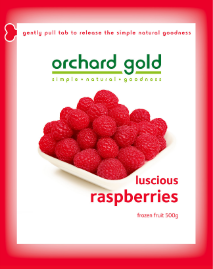Orchard Gold Luscious Raspberries, 500g, price/pack, frozen