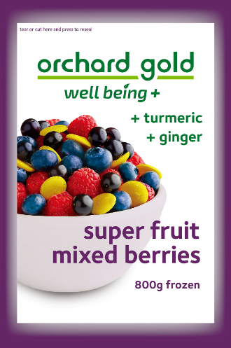 Orchard Gold Well Being + Turmeric & Ginger, 800g, price/pack, frozen
