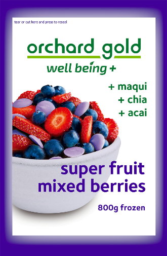 Orchard Gold Well Being + Maqui, Chia, Acai, 800g, price/pack, frozen