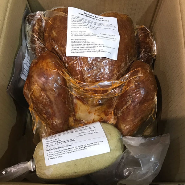 Roasted Precooked (Frozen) Turkey with Chestnut Stuffing & Cranberry Sauce, 3.5-4kg (serves 6)