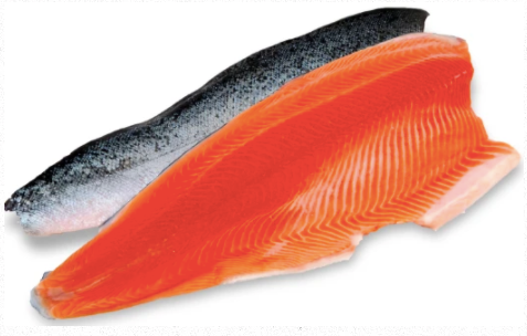 Fresh King Salmon (Chinook) Whole Side, Boneless, Skin-on, 1150g, price/whole fillet