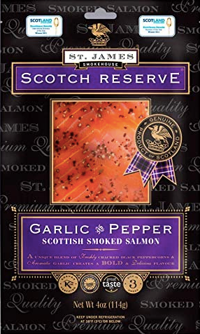 Cold Smoked Salmon Slices, Garlic & Pepper, 114g, price/pack, frozen