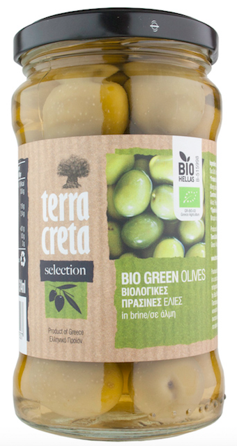 Organic Green Olives (Terra Creta) - Unpitted 315ml