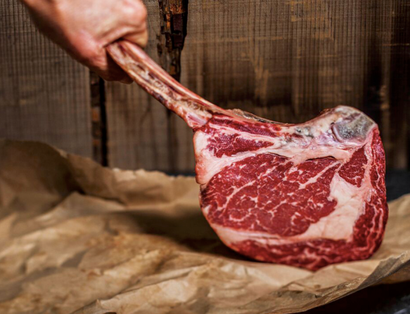 Wagyu Tomahawk Steak (Tajima Aus Ribeye) MS 4/5, Bone in, approx 1.74kg, price/portion, frozen