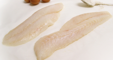 Frozen Wild Blue Cod Fillets, skinless, bone out, 125-250g+ per piece, price/500g