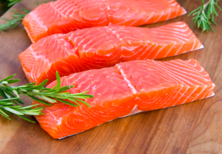 Frozen King Salmon (Chinook) Fillet Portions, Skin on Bone out, 150g portion vacuum packed, price per portion