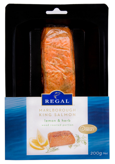 Frozen King Salmon Fillet Portions, Wood Roasted Lemon and Herb flavour, 200g portion vacuum packed, price per portion