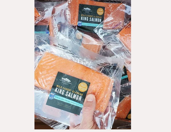 6 pack (value pack) Frozen Wild Alaskan King Salmon (Chinook) Fillet Portions, skin on, boneless, 250-270g IVP, price/6 pork ack