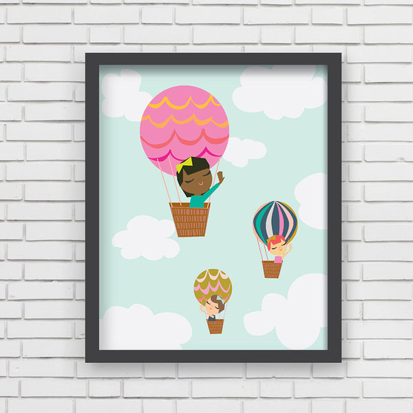 All Aboard: Balloon Ride Art Print