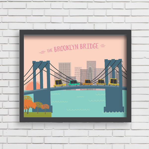 All Aboard: Brooklyn Bridge Art Print