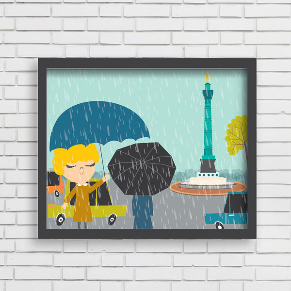 All Aboard: Rainy Day in Paris Art Print